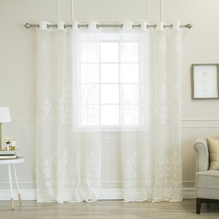 Aurora Home Sheer Scroll Pattern Grommet Top Curtain Panel Pair|https://ak1.ostkcdn.com/images/products/15974141/P22370702.jpg?_ostk_perf_=percv&impolicy=medium