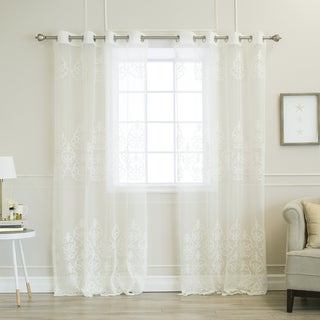 Aurora Home Sheer Scroll Pattern Grommet Top Curtain Panel Pair