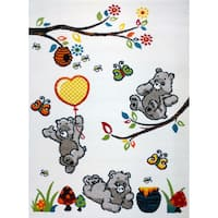 KC Cubs Bear and Bees Boy's and Girl's Bedroom Modern Area Rug