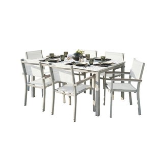Oxford Garden Travira 7-Piece Dining Set with 63-in x 40-in Lite-Core Ash Table - Tekwood Vintage, Natural Sling