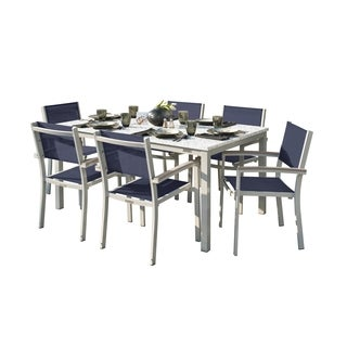 Oxford Garden Travira 7-Piece Dining Set with 63-in x 40-in Lite-Core Ash Table - Tekwood Vintage, Ink Pen Sling