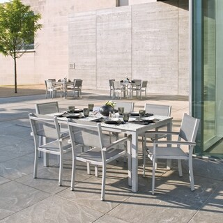Oxford Garden Travira 7-Piece Dining Set with 63-in x 40-in Lite-Core Ash Table - Tekwood Vintage, Titanium Sling