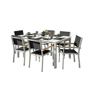 Oxford Garden Travira 7-Piece Dining Set with 63-in x 40-in Lite-Core Ash Table - Tekwood Natural, Black Sling