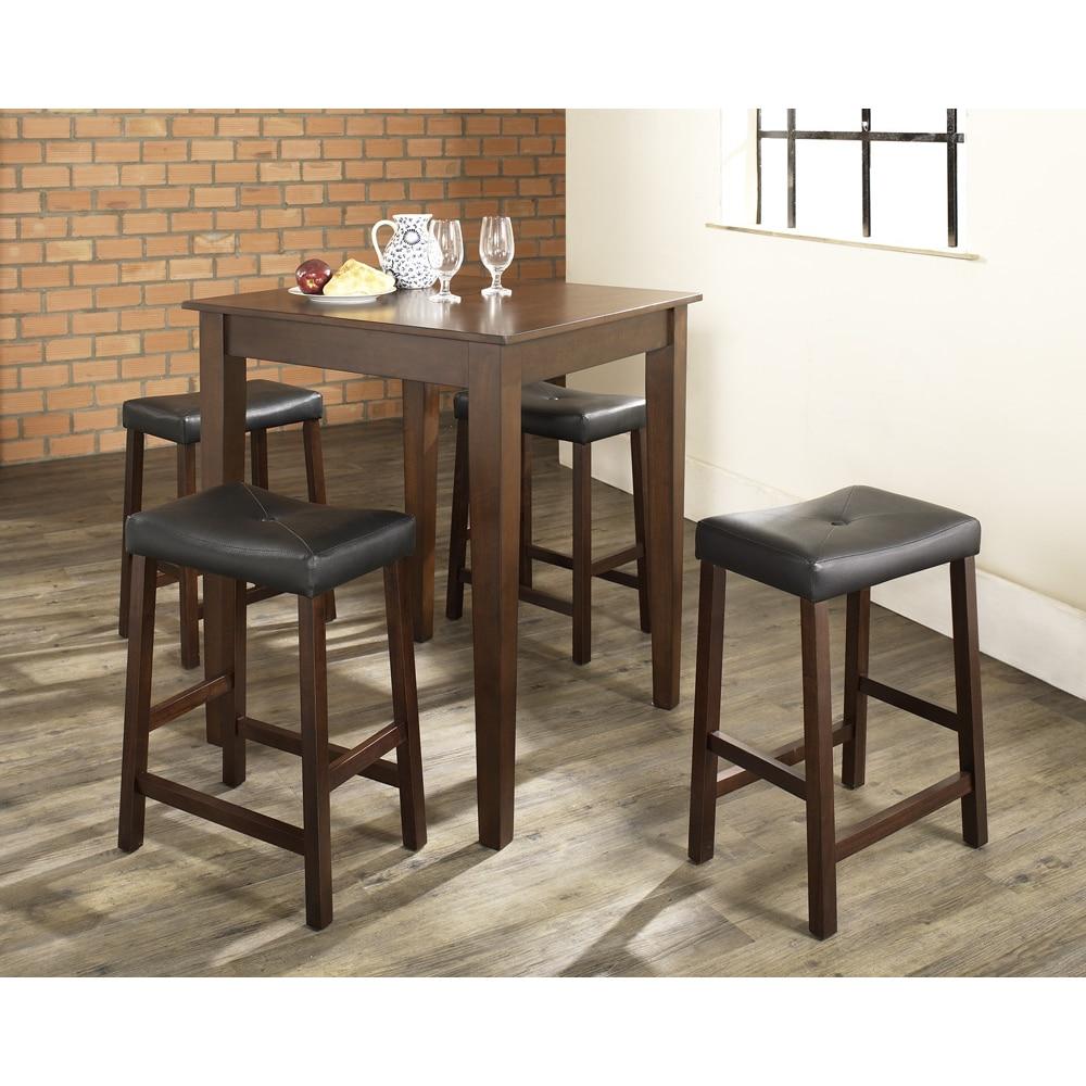 Crosley Furniture Cherry Finish Wood Pub Table and Uphols...