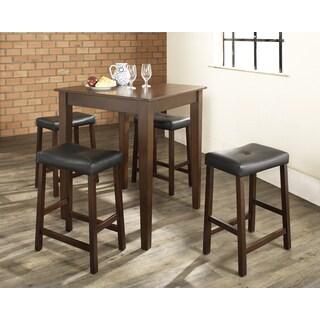Crosley Furniture Cherry Finish Wood Pub Table and Upholstered Saddle Stool Set (Set of 5)