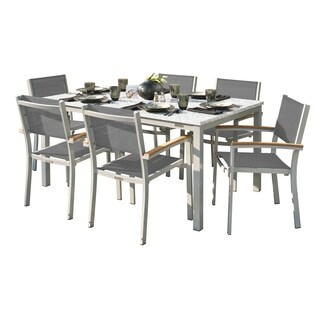 Oxford Garden Travira 7-Piece Dining Set with 63-in x 40-in Lite-Core Ash Table - Tekwood Natural, Titanium Sling