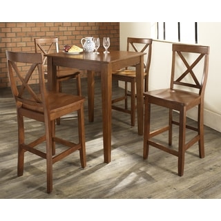 5 Piece Pub Dining Set with Tapered Leg and X-Back Stools in Classic Cherry Finish