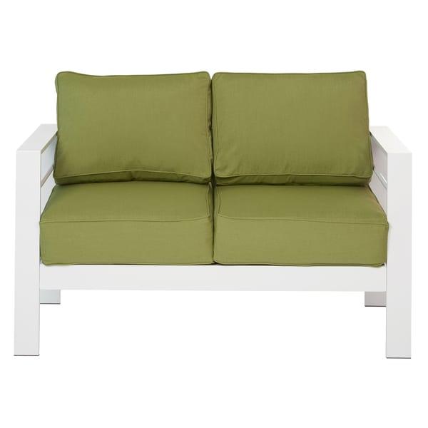 Handy Living Crete 4 Piece Indoor/Outdoor Gloss White Conversation ...