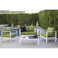 Handy Living Crete 4 Piece Indoor/Outdoor Gloss White Conversation Set with Sunbrella Cilantro Fabric Cushions