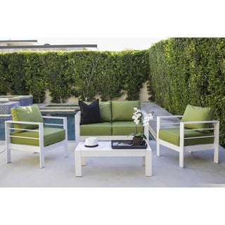 Handy Living Crete 4 Piece Indoor/Outdoor Gloss White Conversation Set with Sunbrella Cilantro Fabric Cushions