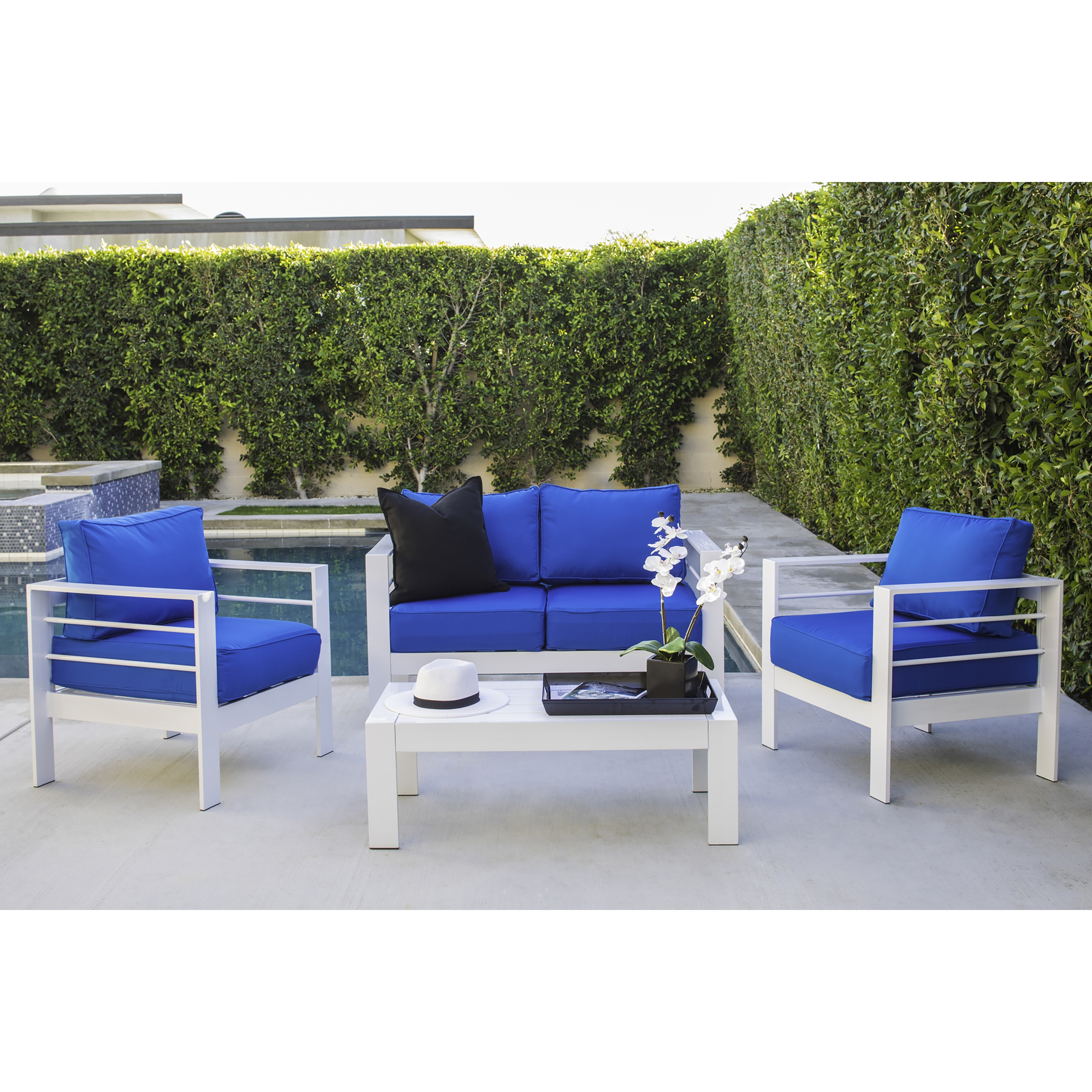 Handy Living Crete 4 Piece Indoor/Outdoor Gloss White Conversation Set with Sunbrella Pacific Bue Cushions