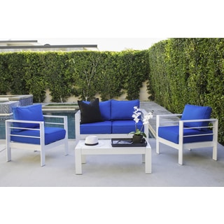 Handy Living Crete 4 Piece Indoor/Outdoor Gloss White Conversation Set with Sunbrella Pacific Bue Cushions - Thumbnail 0