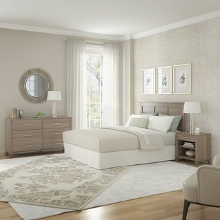 Somerset Ash Grey Headboard, Dresser and Nightstand Bedroom Set