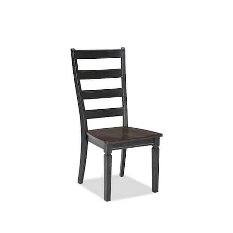 Glenwood Rubbed Black and Charcoal Ladderback Dining Chair (Pack of 2)