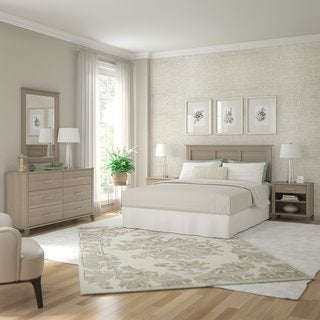 Somerset Ash Grey Dresser with Mirror, Headboard, and 2 Nightstands