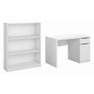 Montrese Pure White Computer Desk and Bookcase Set