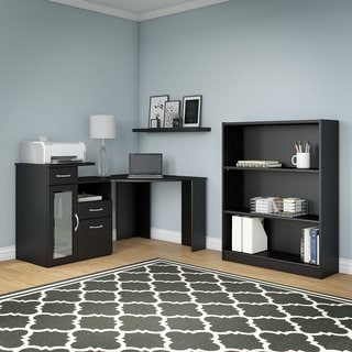 Vantage Classic Black Corner Desk and Bookcase Set