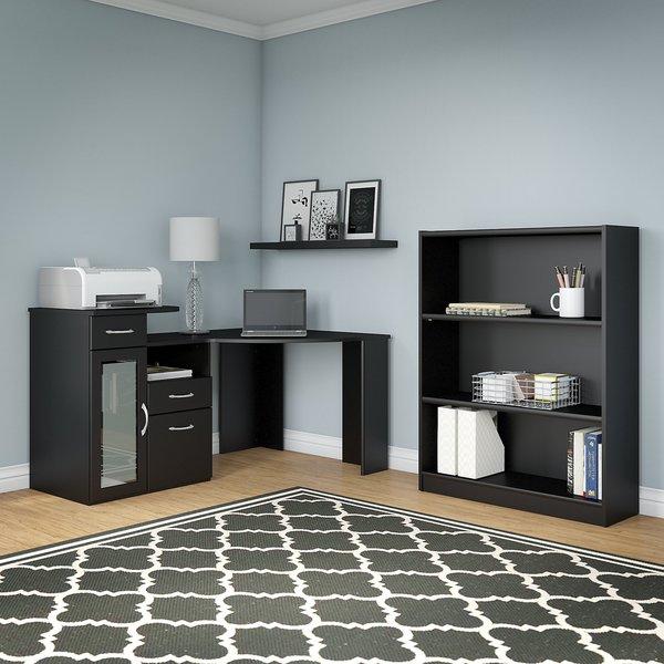 Vantage Clic Black Corner Desk And Bookcase Set