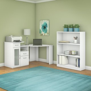 Vantage Pure White Corner Desk and Bookcase Set