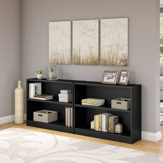 Universal 2 Shelf Bookcase Set of 2 in Classic Black