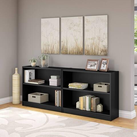"Porch & Den Colony Classic Black 2-shelf Bookcase (Set of 2) - 36.97""L x 12.00""W x 30.00""H"
