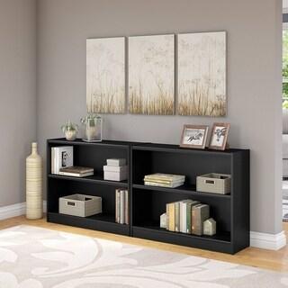 """Porch & Den Colony 2-shelf Bookcase Set of 2 in Classic Black - 36.97""""L x 12.00""""W x 30.00""""H"""