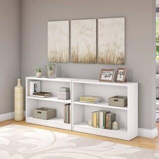 """Porch & Den Colony 2-shelf Bookcase Set of 2 in Pure White - 36.97""""L x 12.00""""W x 30.00""""H"""