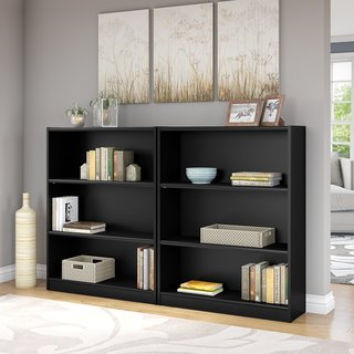 Universal Classic Black 3-shelf Bookcase (Set of 2)