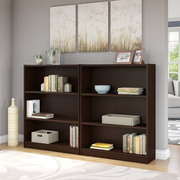 Universal Mocha Cherry 3 Shelf Bookcase Set Of 2