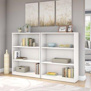 Universal Pure White 3-shelf Bookcase (Set of 2)