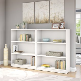 Universal Pure White 3-shelf Bookcase (Set of 2)