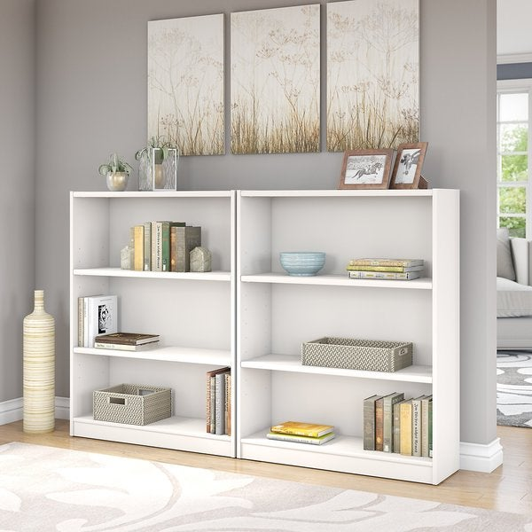 Universal Pure White 3 Shelf Bookcase Set Of 2