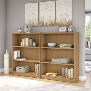 Universal Snow Maple 3-shelf Bookcase (Set of 2)