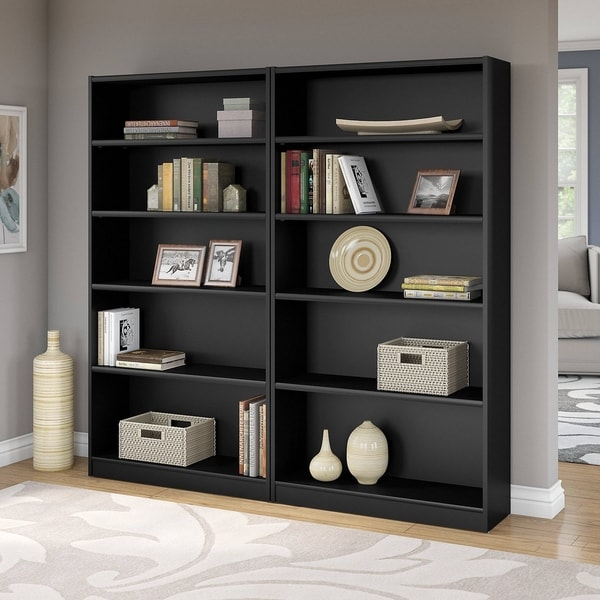 Universal 5 Shelf Bookcase Set Of 2 In Clic Black