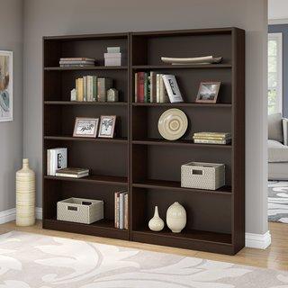 Universal Mocha Cherry 5-shelf Bookcase (Set of 2)