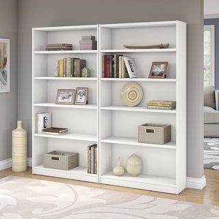 Universal Pure White 5-shelf Bookcase (Set of 2)
