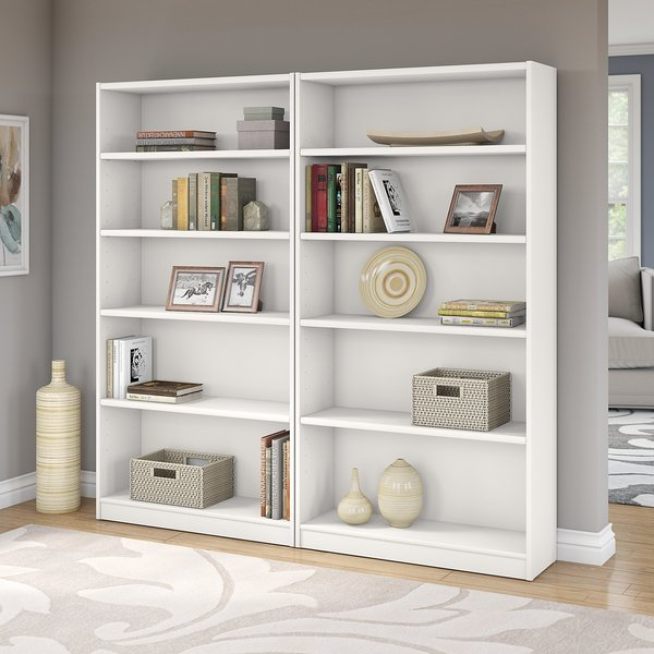 Universal Pure White 5 Shelf Bookcase Set Of 2