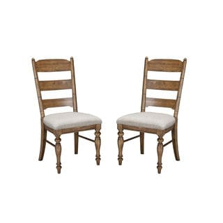 Intercon Lakehouse Brushed Sand Upholstered Ladder Back Dining Chair -2 pack