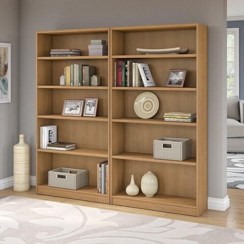 Universal Snow Maple 5-shelf Bookcase (Set of 2)