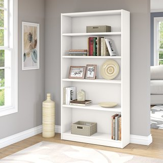 Universal Pure White 5-shelf Bookcase