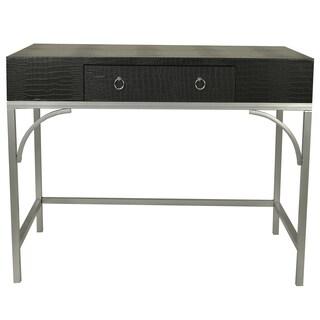 Decor Therapy Dundee Crocodile Skin Faux Leather Metal Writing Desk with Drawer (2 options available)