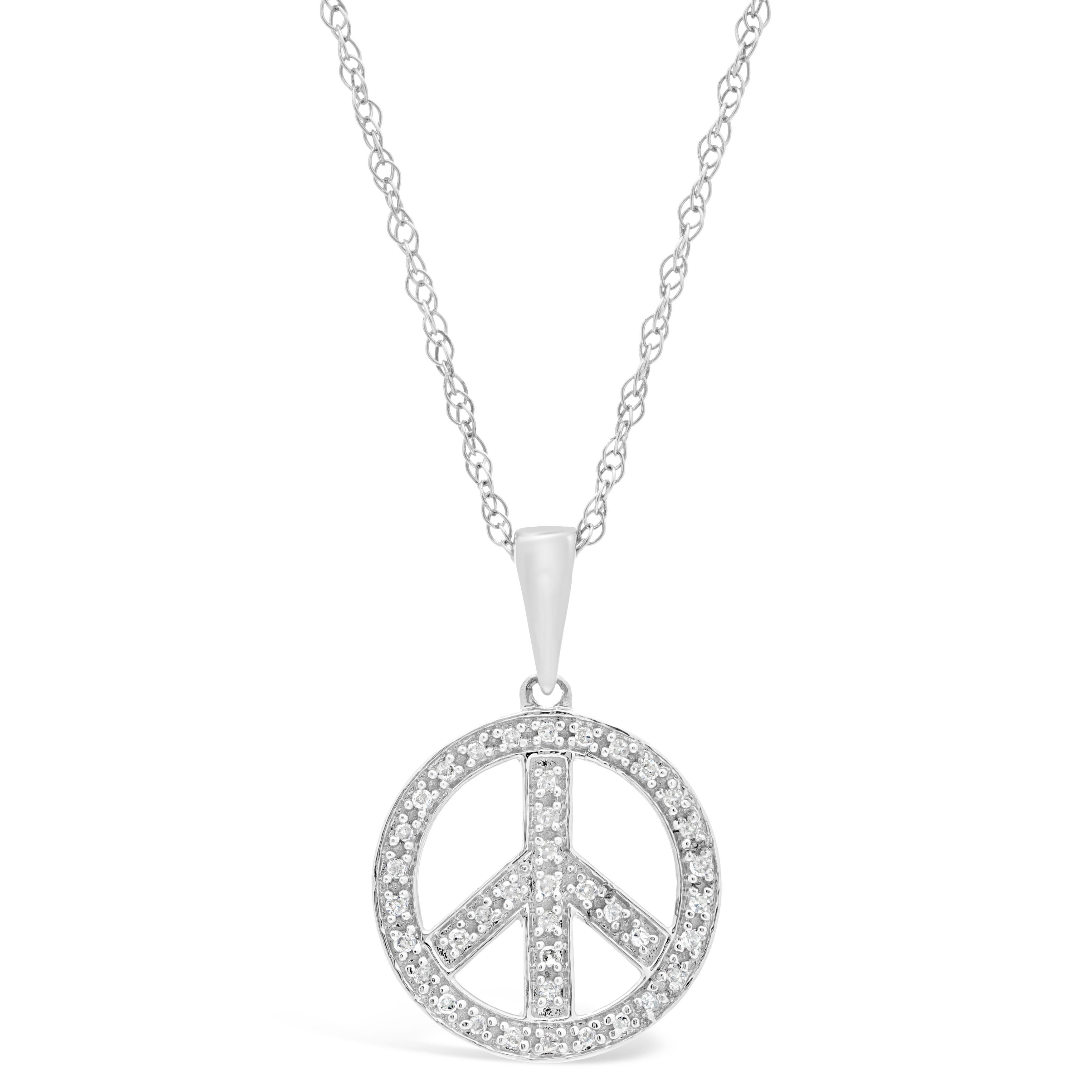 Sterling Silver 1/8 ct. TDW Diamond Peace-sign Pendant Ne...