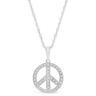 Sterling Silver 1/8 ct. TDW Diamond Peace-sign Pendant Necklace