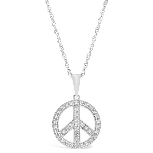Shop sterling silver 18 ct tdw diamond peace sign pendant necklace tdw diamond peace sign pendant necklace aloadofball Images