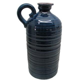 Jeco Turquoise Ceramic 14-inch Vase with Handle