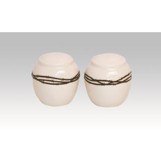 HiEnd Accents 2-Piece Barbwire Shaker Set Cream