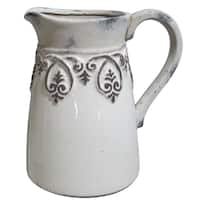 """9"""" White/Grey Embossed Pitcher"""