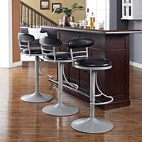 Crosley Furniture Jasper Platinum Metal Swivel Counter Stool with Black Cushion