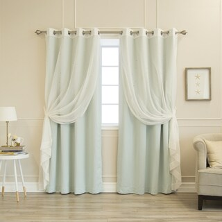 Aurora Home Mix & Match Star Cut Out and Sheer 4 Piece Curtain Panel Set - 52x84