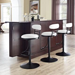 Crosley Furniture Jasper Black Metal Swivel Counter Stool wtih White Cushion
